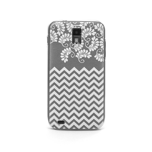 T-Mobile Samsung Galaxy S2 Gray Chevron Floral Case - Chevron Willow Case