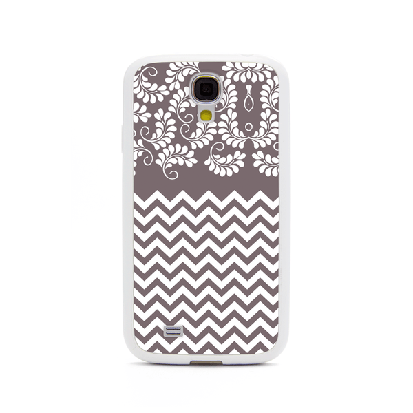 Samsung Galaxy S4 Gray Chevron Floral White Bumper Case