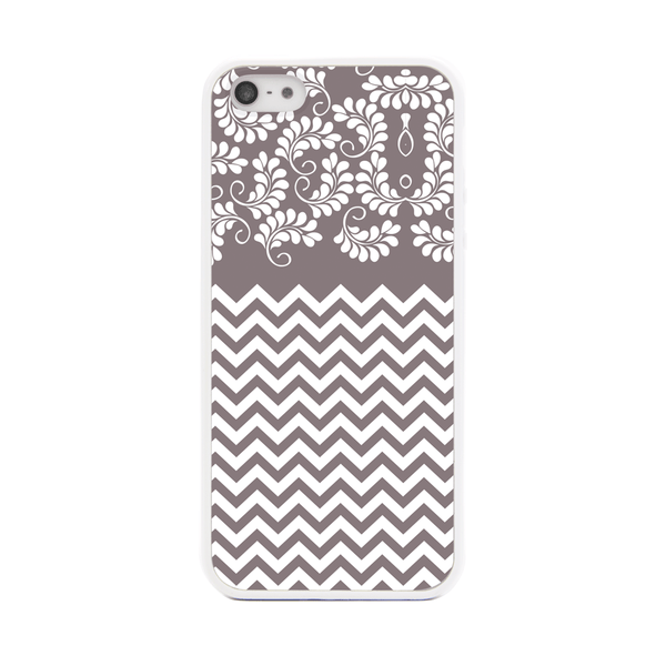 iPhone 5 and iPhone 5s Gray Chevron Floral Bumper Case