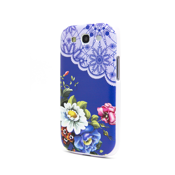 Samsung Galaxy S3 Vintage Floral Blue Lace Case - Duchess Harlow Case