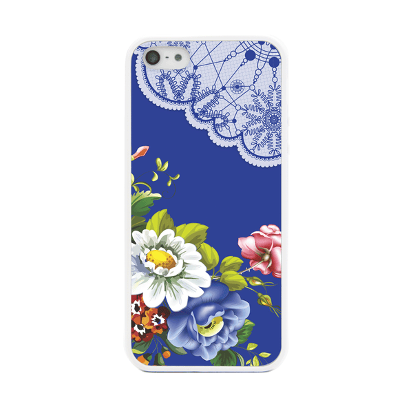 iPhone 5 and iPhone 5s Blue Floral Lace Bumper Case