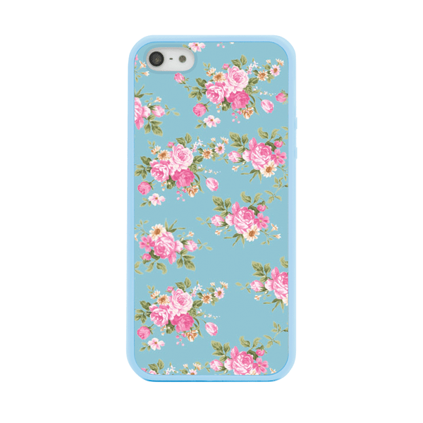 iPhone 5 and iPhone 5s Blue Floral Bumper Case