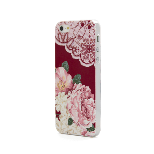 iPhone 5 and iPhone 5s Vintage Floral Red Lace Case - Duchess Yeardley Case
