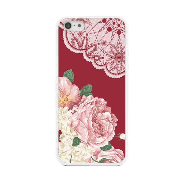iPhone 5 and iPhone 5s Red Floral Lace Bumper Case