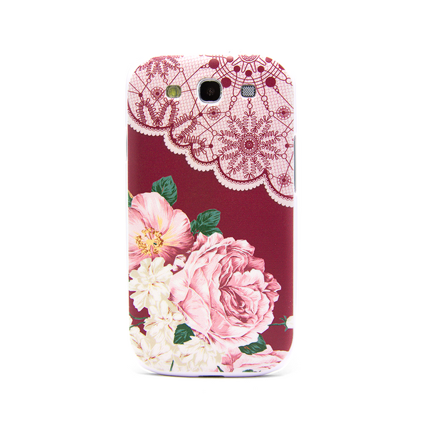 Samsung Galaxy S3 Vintage Floral Red Lace Case - Duchess Yeardley Case