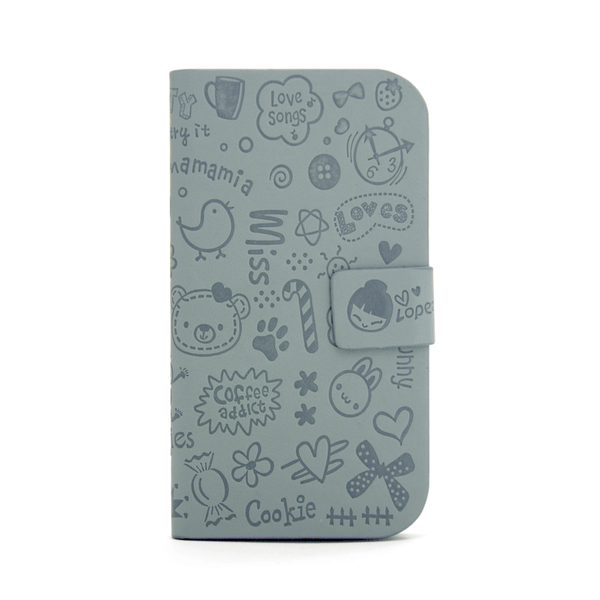 Samsung Galaxy S3 Cartoon Graffiti Wallet Case in Gray