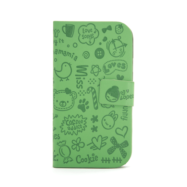 Samsung Galaxy S3 Cartoon Graffiti Wallet Case in Green