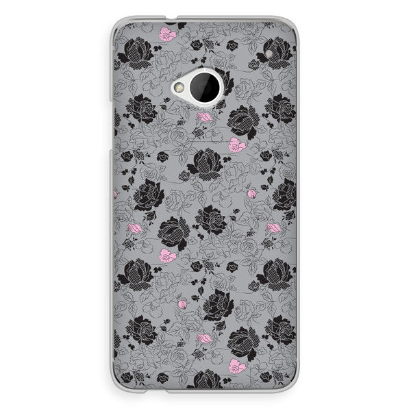 HTC One Gray and Pink Floral Case - Duchess Burgess Case