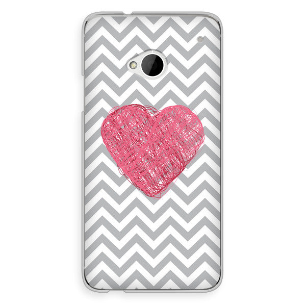 HTC One Gray Chevron with Pink Heart Case