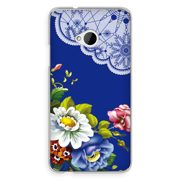 HTC One Blue Floral Lace Steampunk Case - Floral Harlow Case