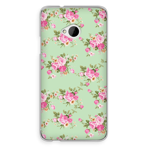 HTC One Mint Green Floral Case