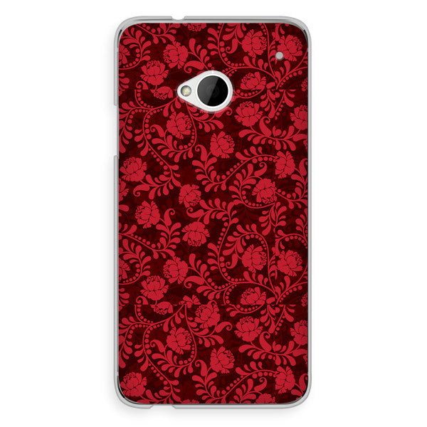 HTC One Red Brocade Steampunk Floral Case - Duchess Stafford Case