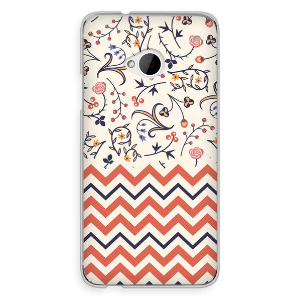 HTC One Chevron Peach Floral Case - Chevron Tessa Case