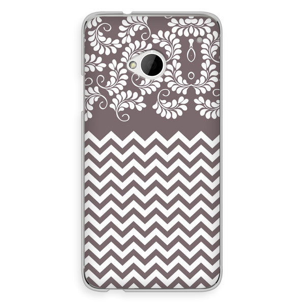 HTC One Chevron Gray Floral Case - Chevron Willow Case