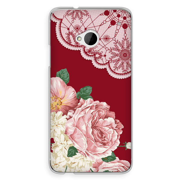 HTC One Red Floral Lace Steampunk Case - Floral Yeardley Case