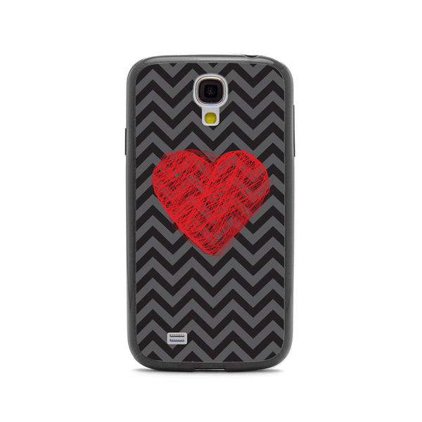 Samsung Galaxy S4 Red Heart Chevron Black Bumper Case