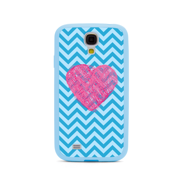 Samsung Galaxy S4 Pink Heart Chevron Blue Bumper Case