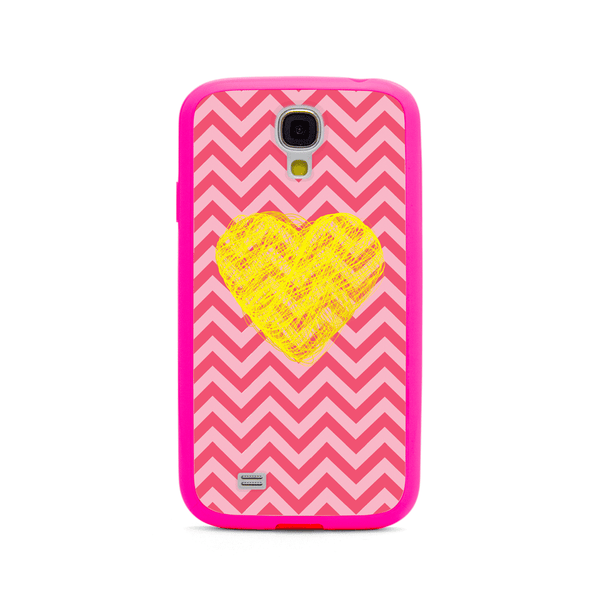 Samsung Galaxy S4 Yellow Heart Chevron Pink Bumper Case