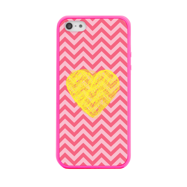 iPhone 5 and iPhone 5s Yellow Heart Pink Chevron Bumper Case