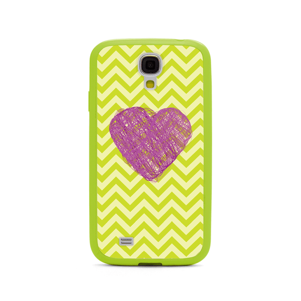 Samsung Galaxy S4 Purple Heart Chevron Lime Green Bumper Case