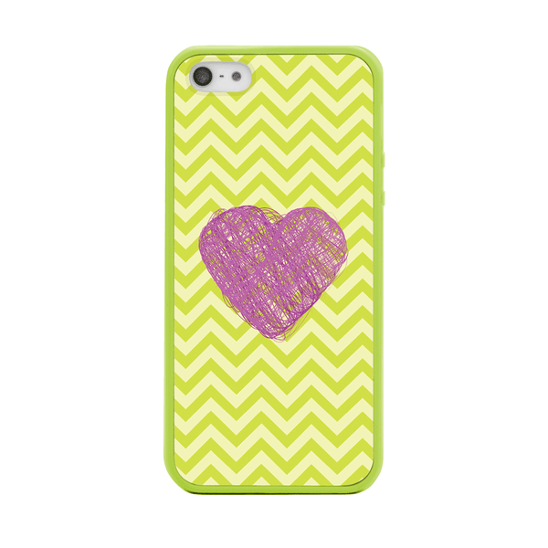 iPhone 5 and iPhone 5s Purple Heart Lime Green Chevron Bumper Case