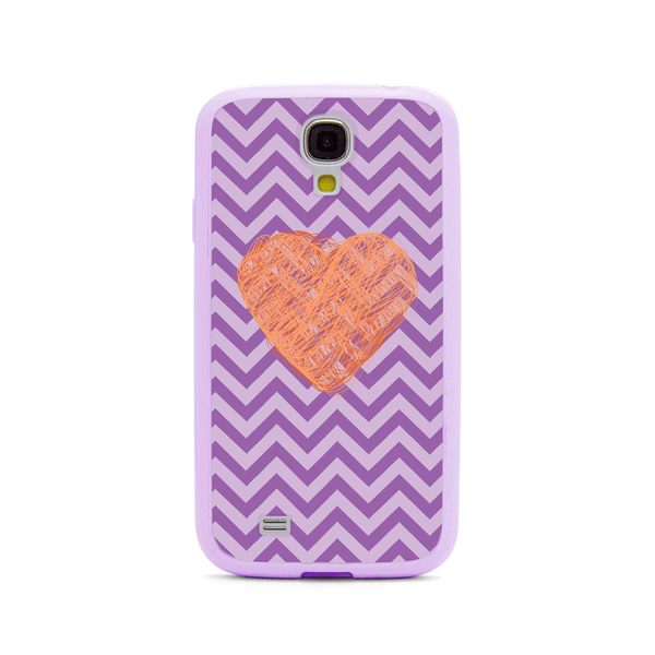 Samsung Galaxy S4 Peach Heart Chevron Purple Bumper Case