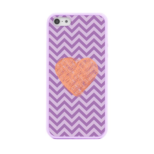 iPhone 5 and iPhone 5s Pink Heart Purple Chevron Bumper Case