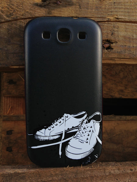 Samsung Galaxy S3 Black Converse Shoes Red Case - High Tops Kicks Case