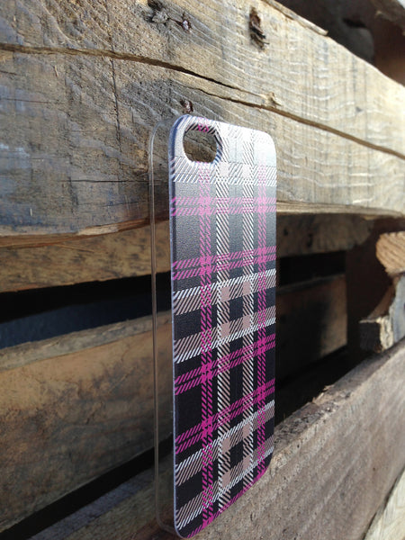 iPhone 5 Pink Brown Plaid Case - Plaid Olivia Case