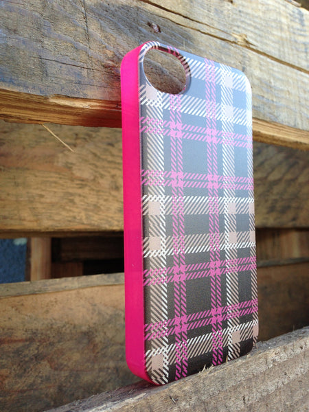 iPhone 4 and iPhone 4s Pink Brown Plaid Case - Plaid Olivia Case