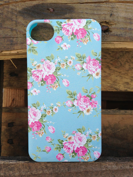 iPhone 4 and iPhone 4s Vintage Floral Baby Blue Case - Duchess Newbury Case