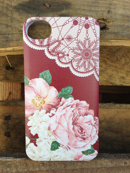 iPhone 4 and iPhone 4s Vintage Floral Red Lace Case - Duchess Yeardley Case