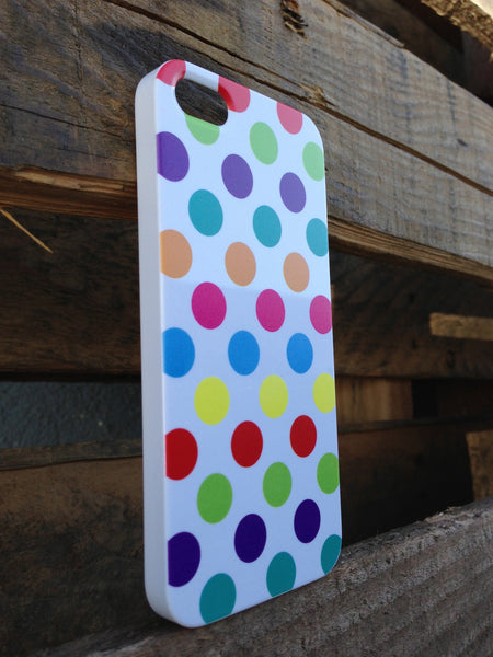 iPhone 5 Polka Dots Rainbow White Case