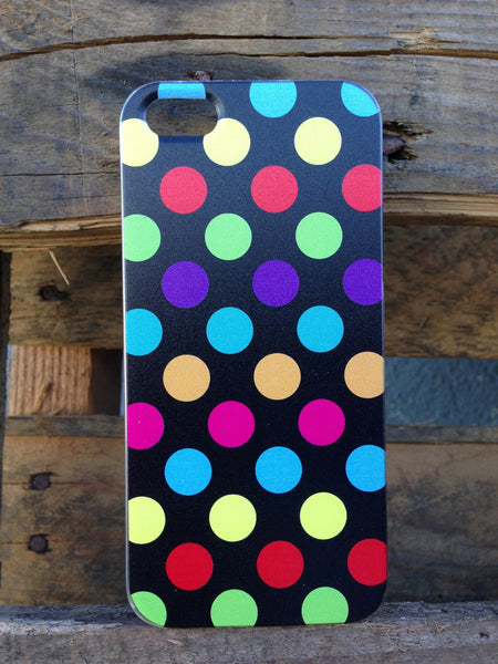 iPhone 5 Polka Dots Rainbow Black Case