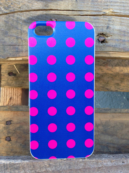 iPhone 5 Polka Dots Pink on Blue Case