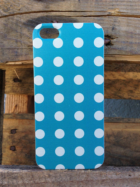 iPhone 5 Polka Dots Blue White Case
