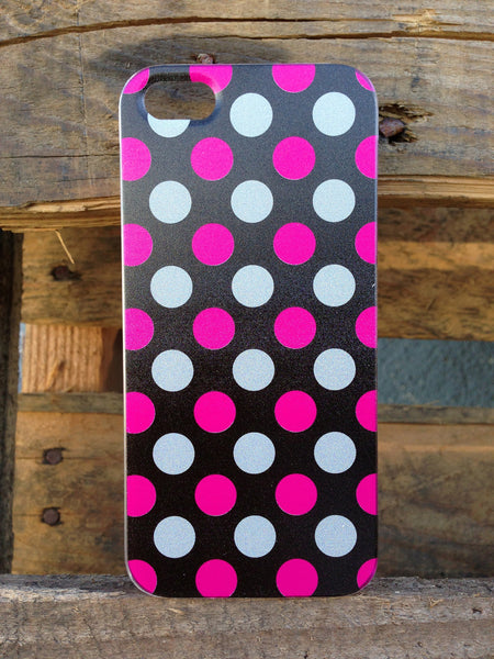 iPhone 5 Polka Dots Pink Black Case