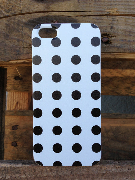 iPhone 5 Polka Dots Black White Case