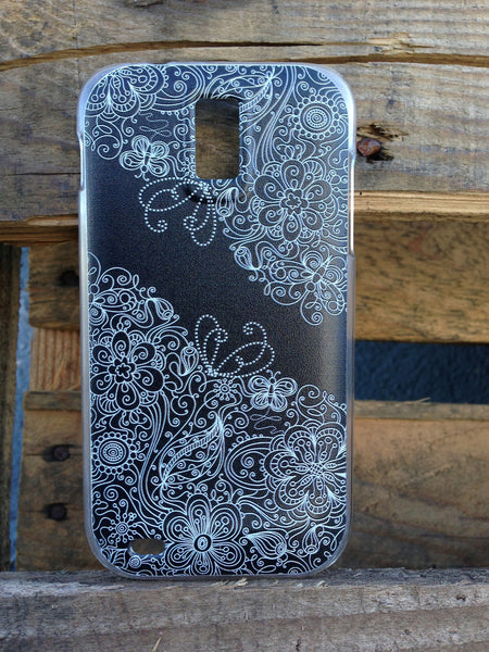 T-Mobile Samsung Galaxy S2 Butterfly Vintage Heart Flower Floral Black Lace Case - Ashby Natasha Case