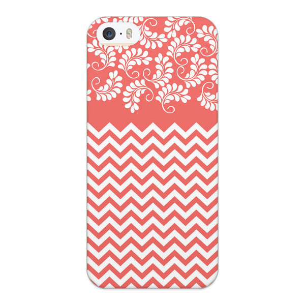 iPhone 5 and iPhone 5s Coral Chevron Floral Case