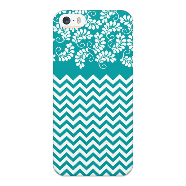 iPhone 5 and iPhone 5s Turquoise Chevron Floral Case