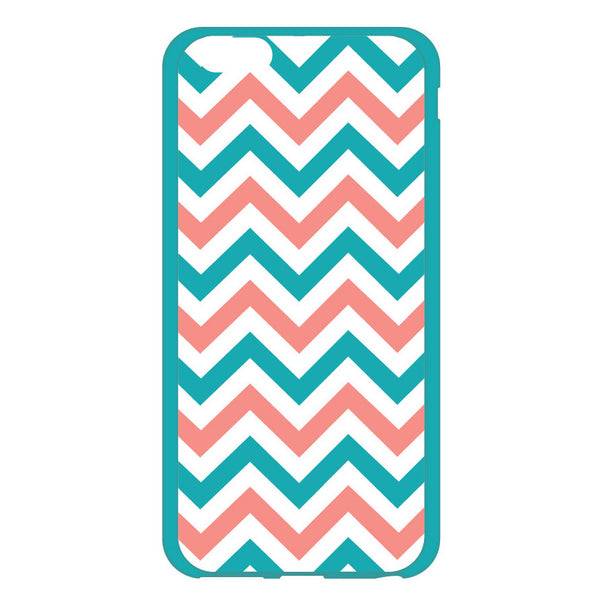 iPhone 6 and iPhone 6 Turquoise and Coral Chevron Bumper Case
