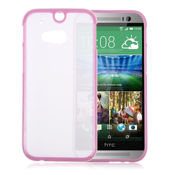 HTC One M8 Pink Bumper Frosted Case