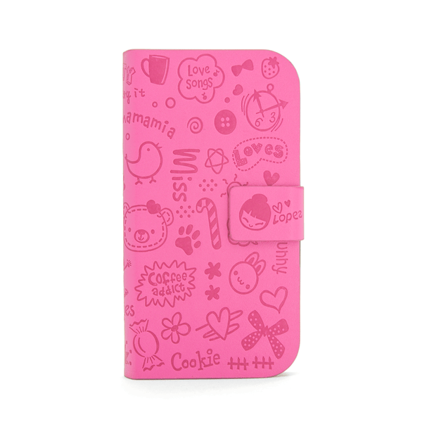 Samsung Galaxy S3 Cartoon Graffiti Wallet Case in Hot Pink