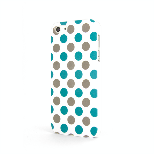 iPhone 5 Polka Dots Blue Silver Case