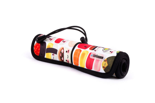 Roll Up Tech Organizer Pouch with Printed Designs