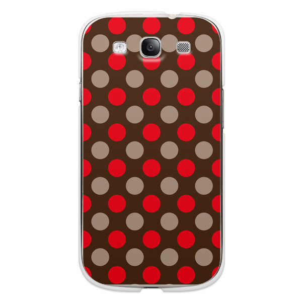Samsung Galaxy S3 Polka Dots Red Brown Case
