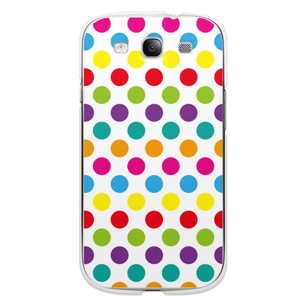 Samsung Galaxy S3 Polka Dots Rainbow White Case