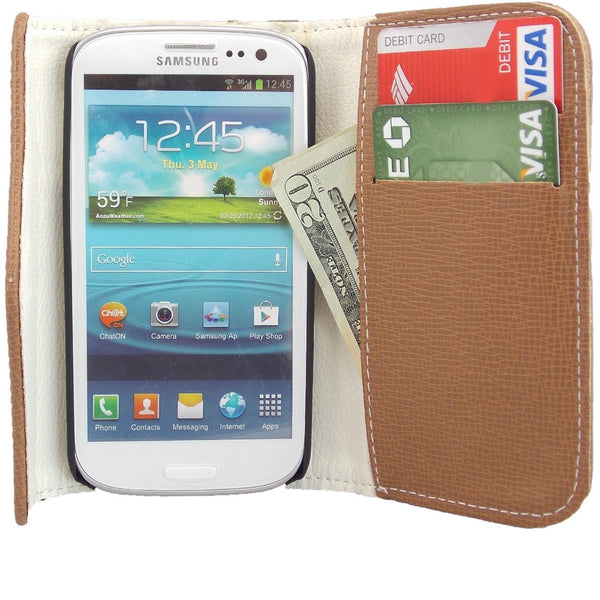 Samsung Galaxy S4 Wallet Case with Zipper in Brown