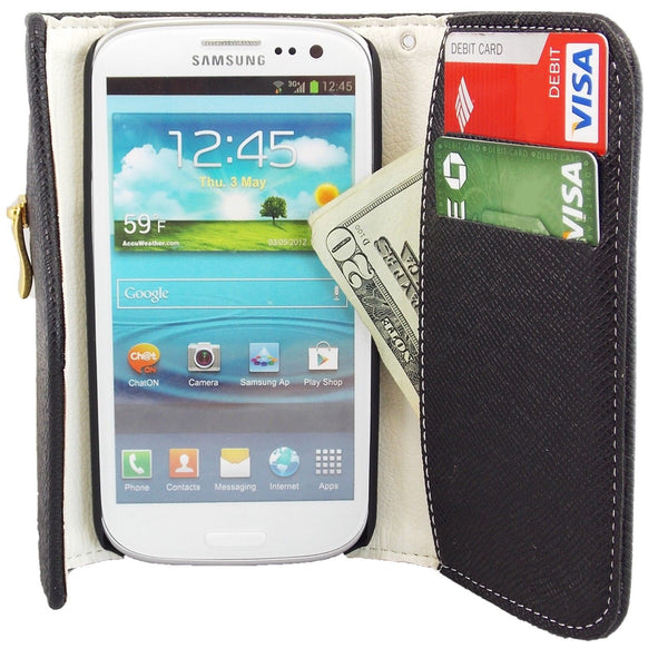 Samsung Galaxy S4 Wallet Case with Zipper in Black
